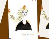 Happy Birthday Blank Notecard princess - celebration  - copper gold orange card girl