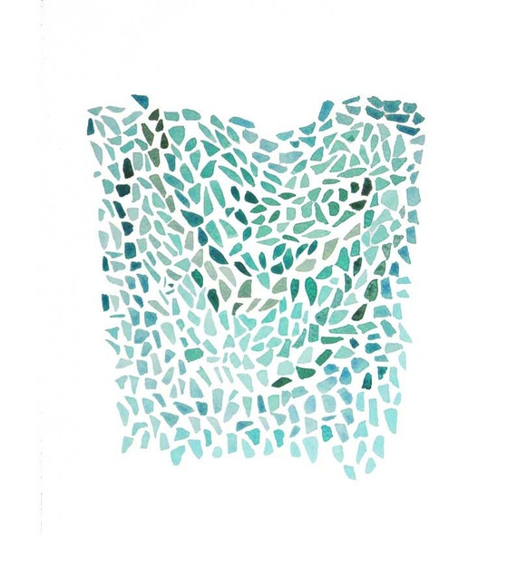Original painting abstract watercolor - Pieces - teal green peridot turquoise - dreamt wall art home decor