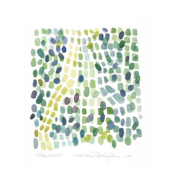 Original painting watercolor - Where we meet - abstract painting  Sea glass beach finds green teal yellow dots traces tracks oht