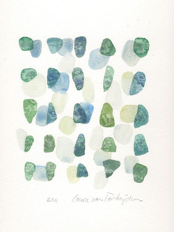 Original painting, Sea glass Beach finds abstract painting,  original watercolor, blue aqua green