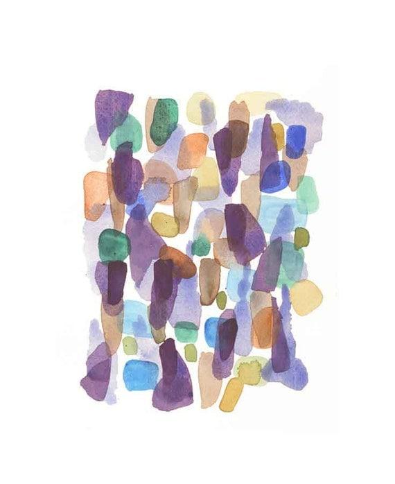 Rainy days original painting watercolor abstract painting purple blue green emerald  modern art contemporary art