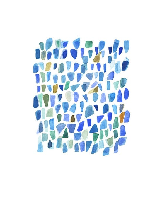 Blue Sea glass Ultramarine Watercolor painting abstract Blue painting modern spring home decor  zen style