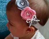 Gray and pink felt flower with pearls bow headband - baby headband