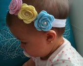 Tri color - pink, yellow, baby blue felt flowers with pearls headband - baby - toddler - newborn - girl