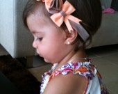 Felt Flower, pompom and bow headband in peach and nude colors BABY GIRL baby headband