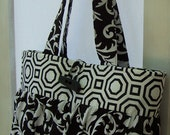 Handcrafted Cotton Fabric Purse Medium Geometric Black and White