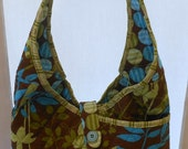 Reserved for Nancy Handcrafted Fabric Hobo Sling Purse in Aqua Lime and Brown Geometric and Floral