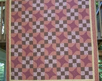 King/Queen Quilt Machine Quilted Friendship Star Pattern
