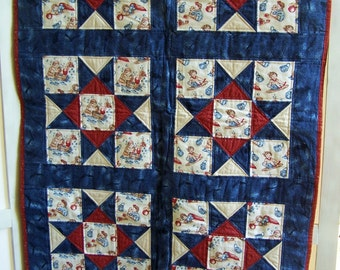 Novelty Print Childrens Flannel Quilt or Lap Quilt