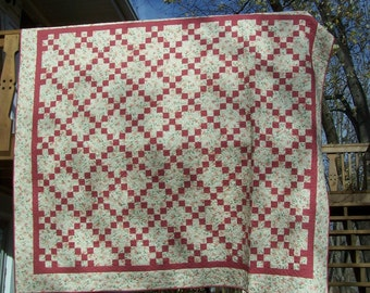 Machine Quilted Full Queen Bed Quilt Irish Chain