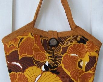 Reversible Bucket Bag Bold Floral Rust and Gold