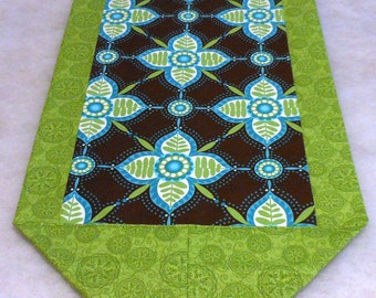 Mod Floral Cloth Table Runner in Brown, Aqua and Lime