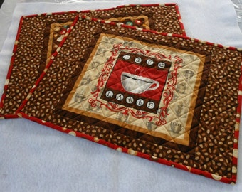 Reversible Place Mats Red and Brown Gourmet Coffee Themed