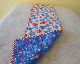 Reversible Table Runner Red White and Blue Celebrate USA