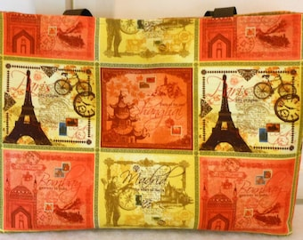 Large Purse Travel Themed