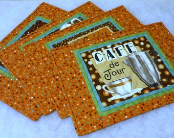 Reversible Place Mats Burnt Orange Gourmet Coffee Themed