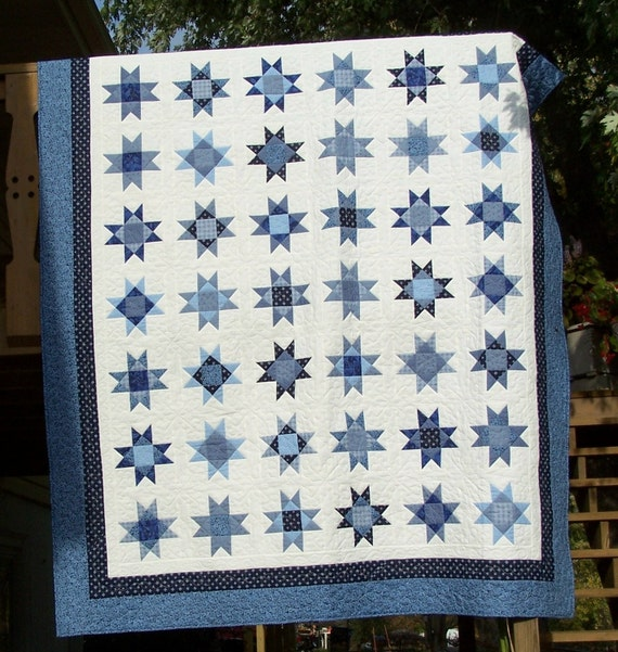 Quilt Standard Or Queen Blue Stars on A Clear Night Machine Quilted