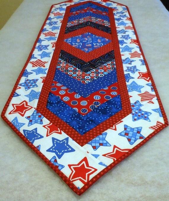 Table Runner Chevron Cloth I Love USA Patriotric