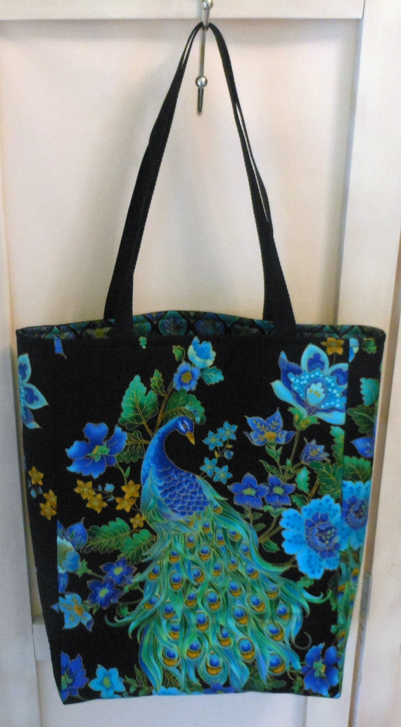 Medium Tote Peacock Blue and Black