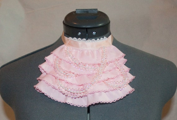 SUMMER CLEARANCE - Pink Ruffle Jabot Choker with Asymetrical Strands of Layered Beads.