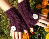 PROMOTION - Fingerless gloves, mittens, hand knitted , plum colors with flowers