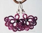 Eggplat Carmen - ttatted earrings -lace , sterling silver