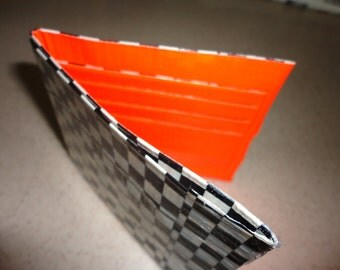 Duct Tape Wallet (Checkers with Orange)