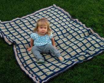 Textured Squares custom-made hand-crocheted lap blanket