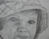 Original 8x10 pencil drawing- Girl with the hat,  by artist Jenna De Troye