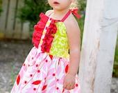 Strawberry Shortcake halter dress size 6mo-3T.............Lillie's & Lollipop's