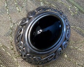 Sterling Silver  Brooch with Black Onyx Stone, Clearance Sale, by Nanas Vintage Shop on Etsy