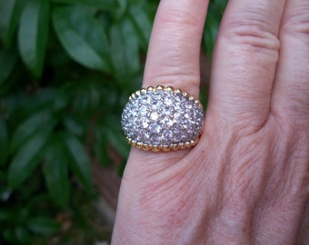 18k Gold Plated Sterling Silver, Crystal Pave Cocktail Ring, SALE, from Nanas Vintage Shop on Etsy