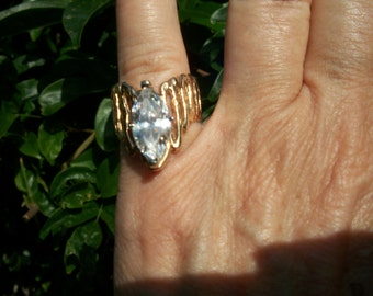 Ring,14K Solid Gold, Wide Band, Marquise 3 ctw CZ Stone, Sale, Nanas Vintage Shop on Etsy