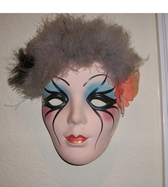 sale mardi gras ceramic wall mask new orleans by nanasvintageshop. Black Bedroom Furniture Sets. Home Design Ideas