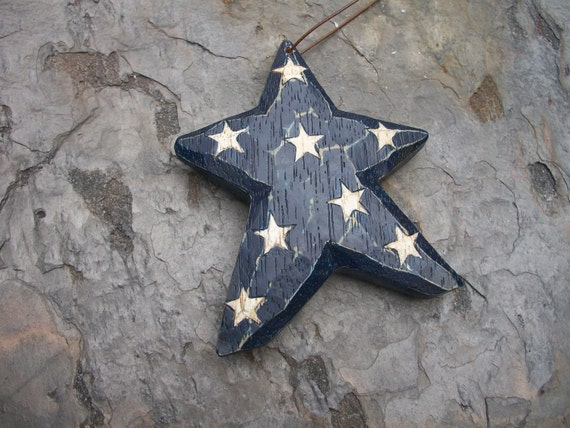 Star Ornaments, Blue Star and Red Star with White Stars, Lot of 2, Nanas Vintage Shop on Etsy