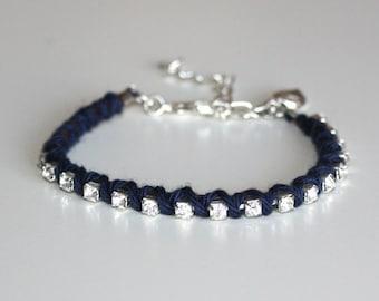 Navy Blue cotton wrapped rhinestones bracelet with Leaf charm
