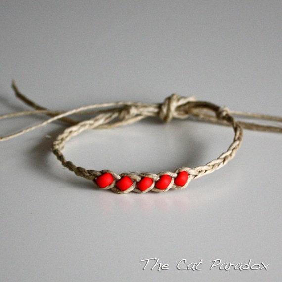 Red beaded Hemp fortune bracelet