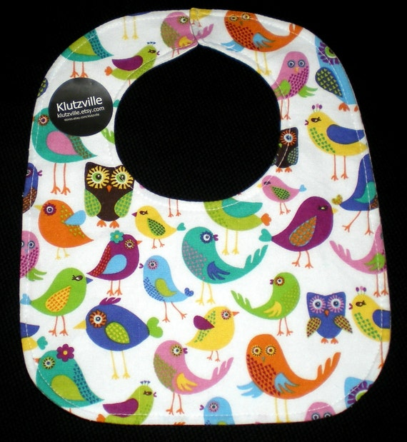Bright Birds Owl Print Cotton Bib S