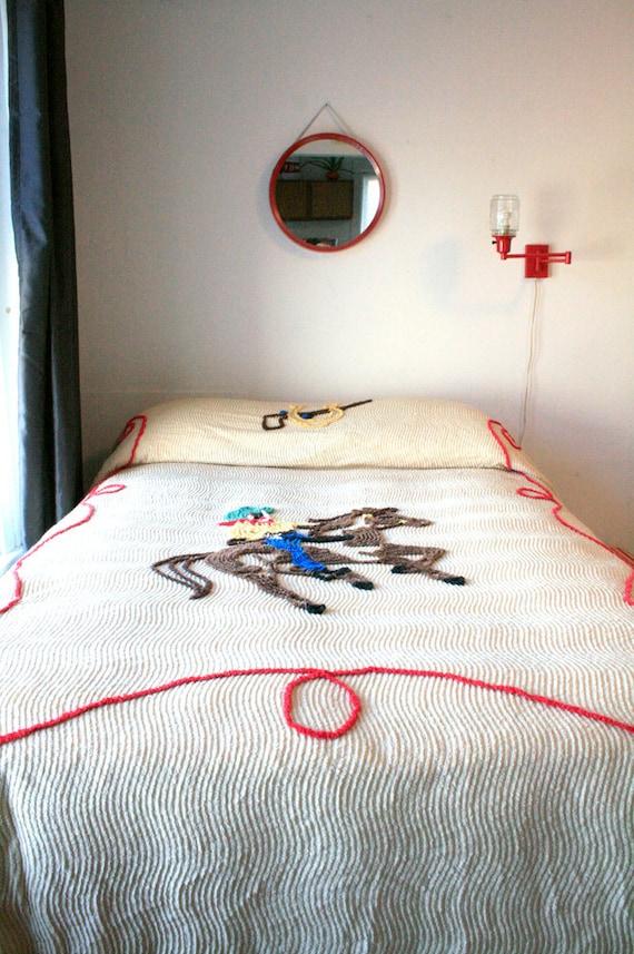 Sale Chenille Cowboy Bedspread By Boxofhollyhocks On Etsy