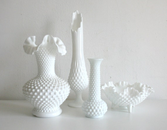 RESERVED FOR KERRY Hobnail Milk Glass Collection