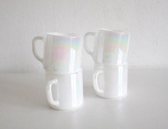 FireKing Opalescent White Mugs