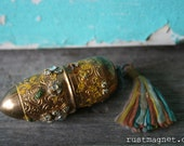 Victorian Snuff Container with Stones and Tassel Made in Austria