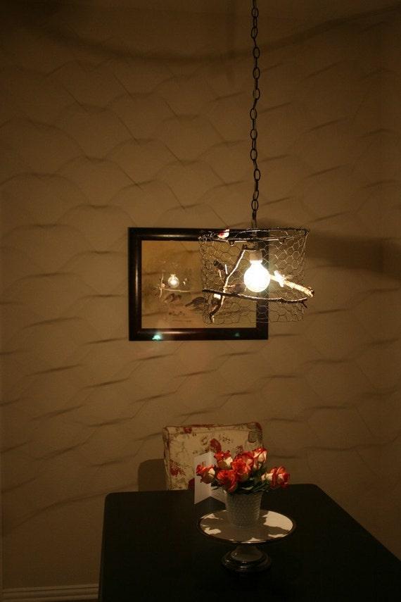 Bird in a Cage Light Fixture CUSTOM single-bulb version