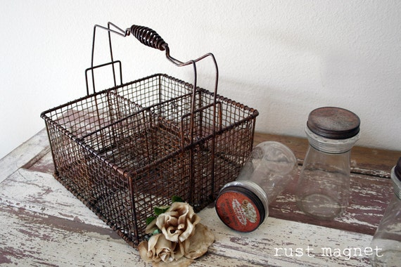 Large Wire Basket With Divided Compartments And Tons Of