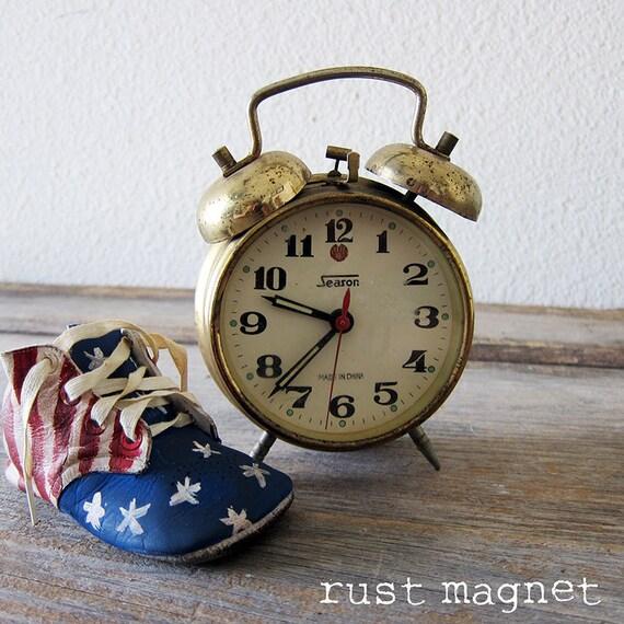 Brass Alarm Clock by Season Turquoise Dots