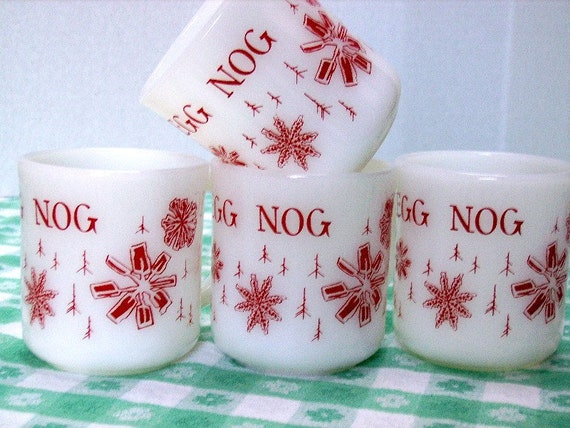 Vintage Red Snowflake Egg Nog Mugs Fire King by KittyCatsCupboard