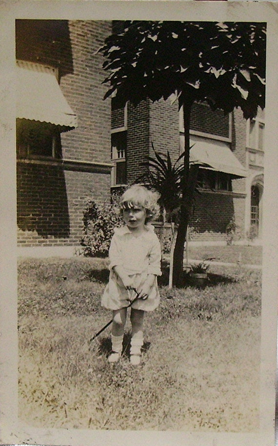 Photo - Little Girl with Stick - Circa 1930s