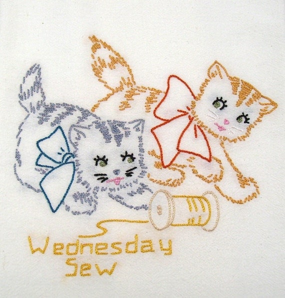 Dish Towel - Two Kittens Sewing - Hand Embroidered Flour Sack