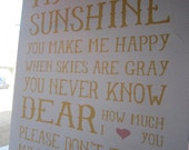 8.5x11 You Are My Sunshine Print