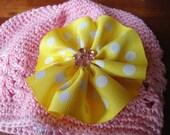 Yellow & White polka dot flower bow